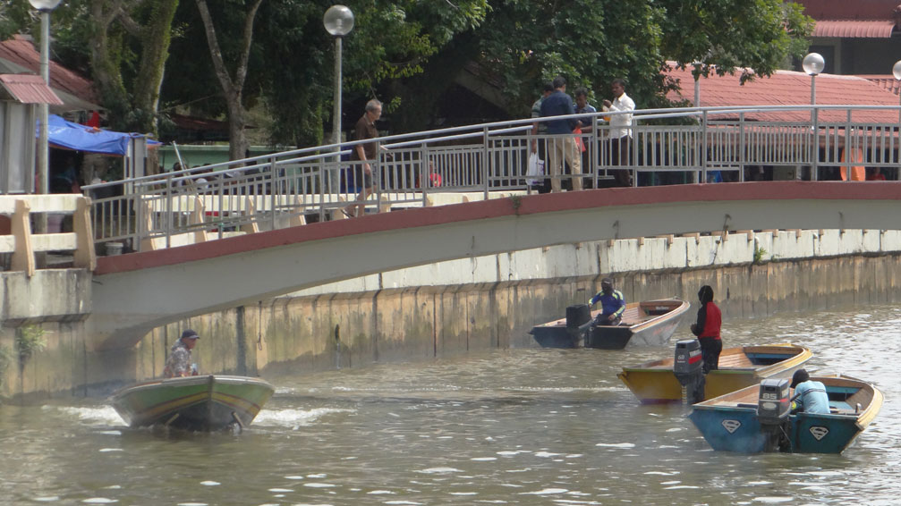 River taxis hanging under a bridge. Bandar Seri Begawan, Brunei