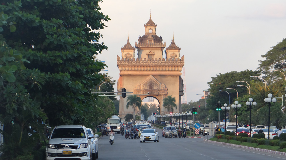 Patuxai Arch is arguably the center tourist spot in Vientiane.