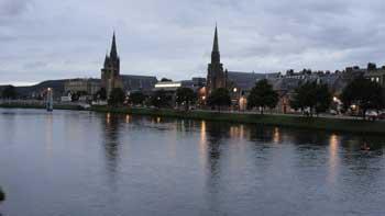 night time scene Inverness, Scotland Summer 2010